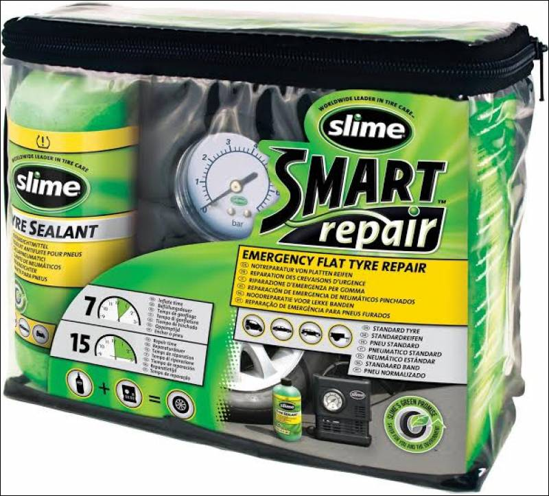 smart repair kit compressore e liquido 473ml slime. Black Bedroom Furniture Sets. Home Design Ideas